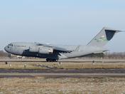 USAF C-17A arriving at Mildenhall.