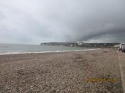 Seaton beach on cloudy Half Term Monday.
