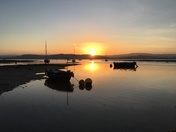 Sun setting at low tide at the Exe Estuary