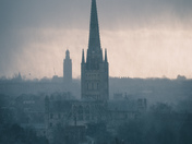 Norwich Cathedral in Heavy Rain