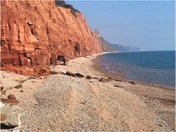The red cliffs of the Jurassic coast.  Sidmouth Devon.