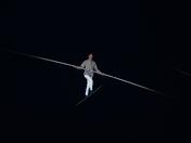 Chris Bullzini walks the tightrope over Norwich market