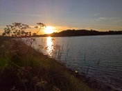 The setting suns reflection over Martlesham creek