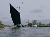 "Windmills and the Wherry ""Maud"" on the Norfolk Broads"