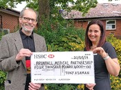 Tony Ashman Cheque Presentation to Lorraine Youngs Brundall Medical Centre