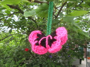Knitted flowers at Axminster Arts Cafe