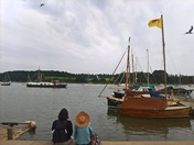 watching the boats go by at Woodbridge
