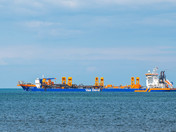 Van Oord Sand supply vessel, delivering sand to project Sandscape Bacton Norfolk