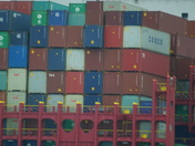 Close up shot of the containers on board ship