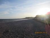 Evening sunlight on Budleigh Salterton beach