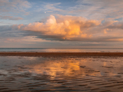 Cloud reflection at sunset & Boundary of sea