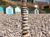 Pebble Art on Budleigh Beach.
