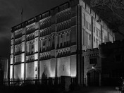 Norwich Castle Halloween Theme in grained Black and White