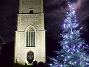 St. Peter & St.Pauls Church in Carbrooke lit up for Christmas