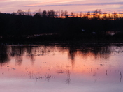 Sunset over the flooded River in Chapel Break, Bowthorpe.