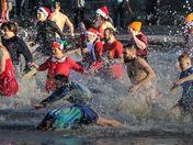 Weston Lifeboat Christmas charity swim 2019