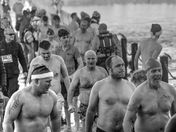 Weston life boat charity dip in Marine lake