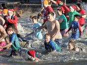 Weston life boat charity dip in Marine lake