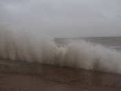 high tide and strong winds at felixstowe