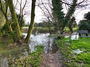 RIVER WENSUM OVERFLOWING, FOOTPATH TO TOWN CUT OFF