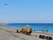 CRAWLER AND PLANE AT WEYBOURNE BEACH