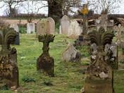 Norman Church Tower and unusual headstones of St Margaret's Herringfleet Suffolk