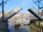 Bridge lifting up at the Exmouth Marine Harbour
