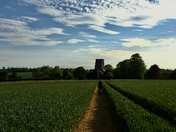 Evening walk with Jess to Clopton church