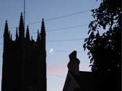 Waxing Crescent Moon over Holy Trinity Church Exmouth