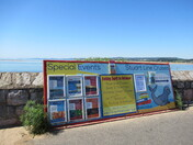 """Stuart Lines Cruises"" info board on Exmouth sea-front"