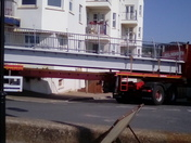 The new 'Alma bridge' arrives in Sidmouth.