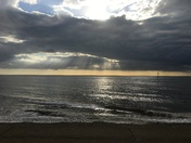 Evening sky  over Heacham beach